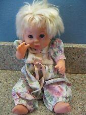 """Baby So Beautiful Girl 12"""" Doll Floral Romper Blue Sleepy Eyes Drink Wet Blonde"""