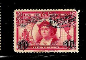 HICK GIRL-MINT COSTA RICA STAMP   SC#147  1928  LINDBERGH OVERPRINT        D676