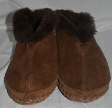 LL Bean Wicked Good Dark Brown Shearling Lined Boot Slippers women's 9 M