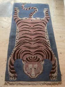 Rare Genuine 100% Tibetan Hand knotted  Tiger  Rug Carpet