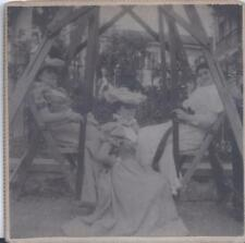 1900s SNAPSHOT CABINET PHOTO LOVELY LADY TRIO ON YARD SWING