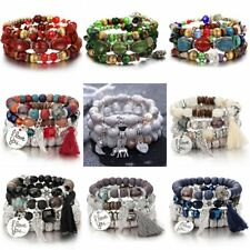 Boho Multilayer Natural Stone Beads Tassel Pendant Chain Bracelet Charm Womens