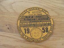 Original Vintage norton sidecar  Bicycle Tax Disc march  1958