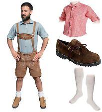 5-teiliges Trachtenset hellbraun kurz B Trachtenlederhose Schuhe,Hemd,Socken WOW