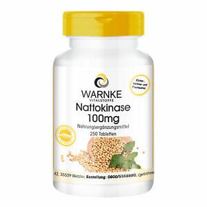 Nattokinase 100 mg - 250 Tabletten für 250 Tage | 2000 FU | Warnke Vitalstoffe