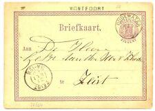 NEDERLAND 1876  BRIEFKAART  - LANGST = MONTFOORT  =VW.  PR EX