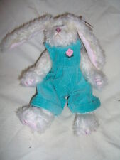 Ivy the 8 inch Long Ear White Bunny with Aqua Overalls