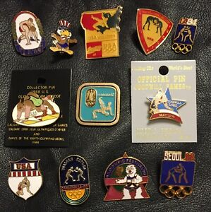Lot / Set of 12 Wrestling Pins ~ Olympic ~Vintage~Los Angeles~Seoul~Barcelona