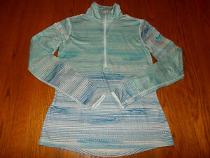 NIKE DRI-FIT 1/2 ZIP LONG SLEEVE BLUE STRIPED ATHLETIC TOP WOMENS MEDIUM EXCELL.