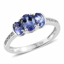 Fabulous 1ct AA Tanzanite Trilogy with Natural Zircon set in 9k White Gold. BNWT