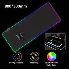 Große RGB Bunte LED Beleuchtung Gaming Matte Spiele Mouse Pad für PC 80X30CM DE