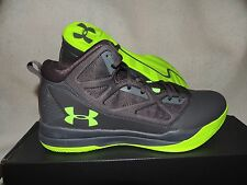 NIB MENS UNDER ARMOUR JET MID BASKETBALL SNEAKERS~SHOES~SIZE 12~grey/lime green
