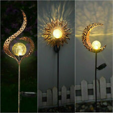 More details for led solar power moon sun stake lights outdoor garden pathway lawn ground lamp uk