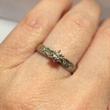 Antique 10k White Gold Diamond Solitaire Engagement Cross Wedding Vintage Ring 9