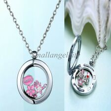 LIVING MEMORY GLASS FLOATING CHARMS LOCKET HEART ROUND PENDANT NECKLACE