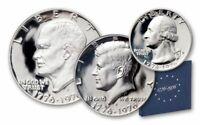 1779-1976 3 Piece 40% Silver  Bicentennial PROOF Set Dollar Half Quarter OGP COA