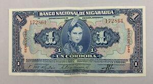 NICARAGUA 1 CORDOBA - SPECIMEN P91S - RARE Lightly Circulated  - 1949