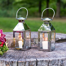 12 NEW Silver Stainless Glass Lanterns Wedding Party Decorations Lot Q17853