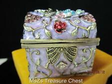 Purple TREASURE CHEST Collectible Enamel Trinket Box with Flowers  *NIB*
