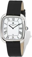 Mens Charles Hubert Square Face Black Leather Band Watch