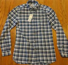 Mens Lacoste Checked LS Button Up Woven Shirt Marino Blue 38 Small - Stretch Fit
