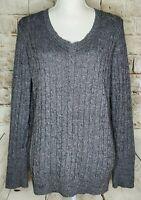 Ann Taylor Loft Sweater V Neck Cable Knit Long Sleeve Gray Silver Sparkle XL EUC