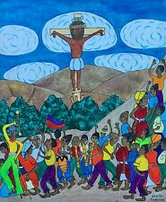 """Crucifixion"" by Seymour E. Bottex - c. 1965 - Naive Haitian Art - 20 in x 24 in"