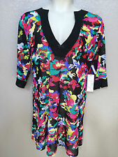 b8f3cf9984 L xl Anne Cole Swim Cover up Floral Print Banded Tunic Dress 15MC540 Black
