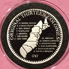 1987 Thirteen Colonies Constitution Proof Coin 1 Troy Oz .999 Fine Silver Round