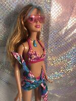 barbie Hilite hair Bikini Shades Sarong Flat Feet ooak