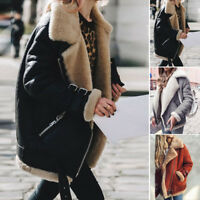 Womens Suede Coat Aviator Leather Jacket Winter Thick Coat Fur Liner Jacket Tops