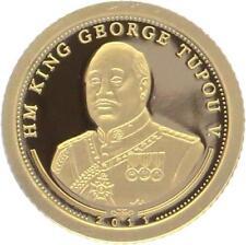 O4992 Tonga 10 Paanga George Tupou 2011 OR Gold 999% BE PF PROOF