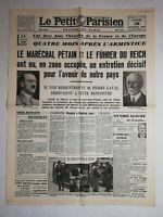 N1138 La Une Du Journal Le Petit Parisien 26 Octobre 1940