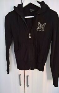 Bebe hoodie sweater black zip up front pockets butterfly logo size M