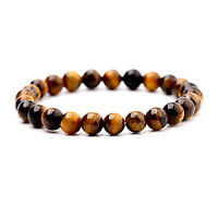 Fashion Men Tiger Eye Matte Onyx Mala Stone Yoga Beaded Bracelets Energy Jewelry