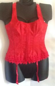 2451 Frederick's Of Hollywood RED Sexy Halter Corset MSRP $62 Boning Hook & Eye