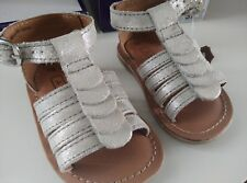chaussures cuir bébé nu-pieds A BY ANDRE neuves sandales 18 grise argentée fille