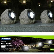 More details for 3 pack granite rock solar garden lights super bright outdoor path patio lights