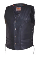 Mens Leather Vest Motorcycle Biker Club Concealed Carry Side Laces 6036.2B
