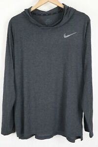 Nike Mens Hyper Dry Long Sleeve Hooded Breathe Shirt Grey sz Large