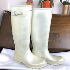 Hunter Womens Tall Boots Size 9 ? White Cream USED CONDITION Rain Boot Casual