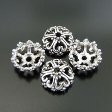 39372 Antiqued Silver Alloy Jewelry Flower Beads Cap Findings11*11*5mm 80pcs