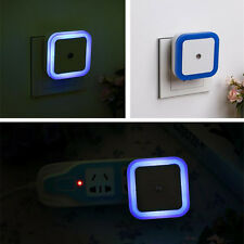 Blue Auto LED Induction Sensor Control Bedroom Night Light Bed Lamp US Plug