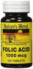 Nature's Blend Folic Acid 1000mcg (1mg) Tablets 100ct -Expiration Date 04-2020-