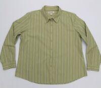 Cabela's Women's 2XL XXL Shirt Top Long Sleeve Button Front Striped 100% Cotton