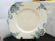 TWIN-HANDLED BREAD / CAKE PLATE BY GLADSTONE POTTERY WITH A BLUE FLOWER PATTERN