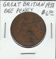 Coin - Great Britain - One Penny - 1938