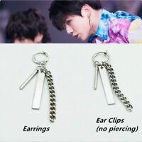 Kpop JUNGKOOK JK Fake Love Chain Earrings Fashion Punk Ear Studs FR766