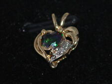 10k Gold Heart Pendant with a Mystic Topaz gemstone and diamonds