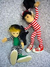 2 Folkmanis Marionette Hand Puppet Glove Full Body Stripe Green Red Shoes RARE